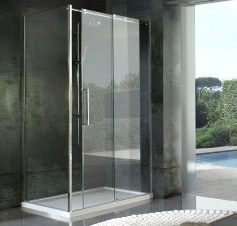 sostituzione box doccia con doccia scorrevole acciaio alta 2mt pareti cristallo 8mm trasparenti temperate