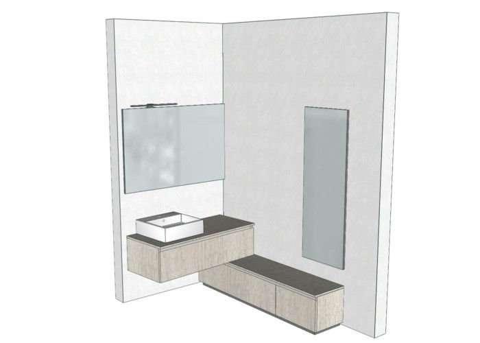 progetto mobile bagno angolare