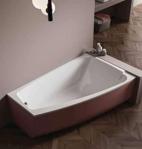 vasca da bagno ad angolo moderna Shivà con pannelli colorati e poggiatesta