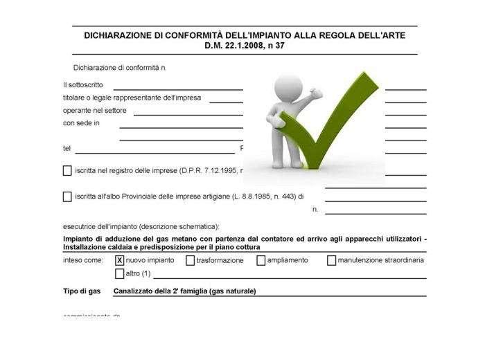 dichiarazione di conformità impianti - certificato