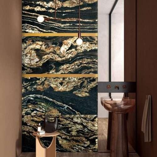 bagno gres porcellanato effetto marmo colore nero e oro