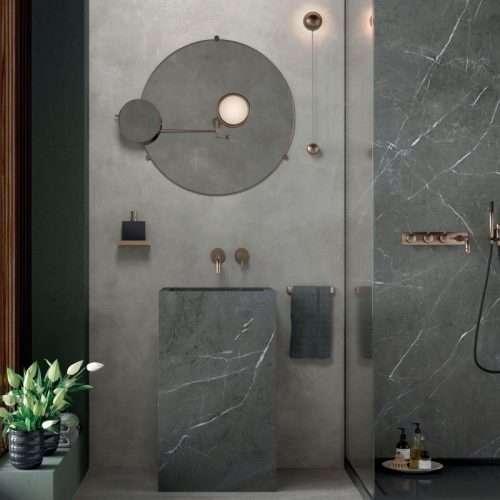 bagno gres porcellanato effetto marmo
