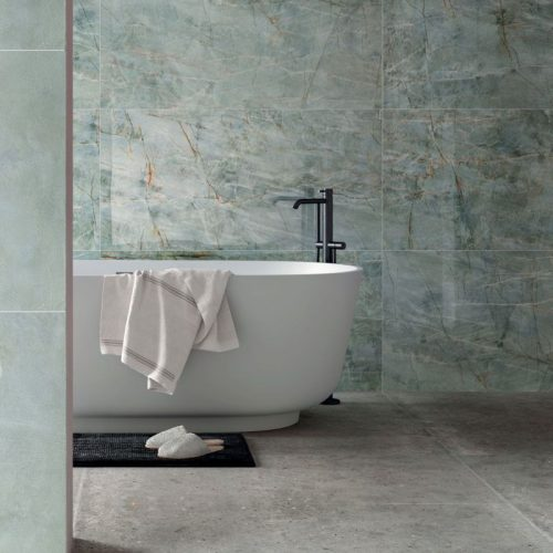 bagno gres porcellanato effetto marmo colore verde smeraldo