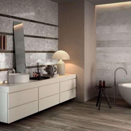 piastrelle bagno gres ceppo di Grè Futura + pavimento effetto legno