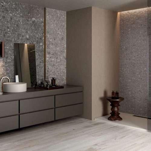 piastrelle bagno gres ceppo di Grè Futura + parquet