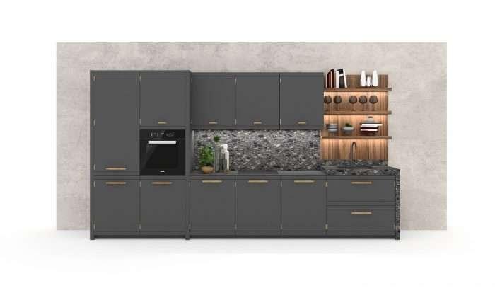 cucina industrial con top in gres porcellanato