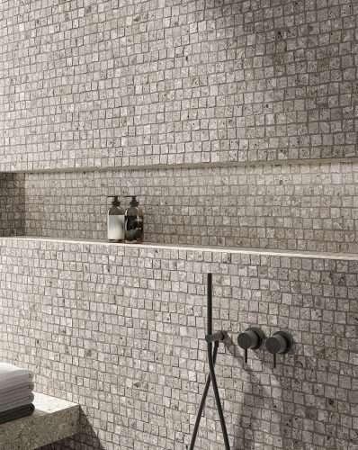 mosaico bagno gres porcellanato effetto pietra stelvio